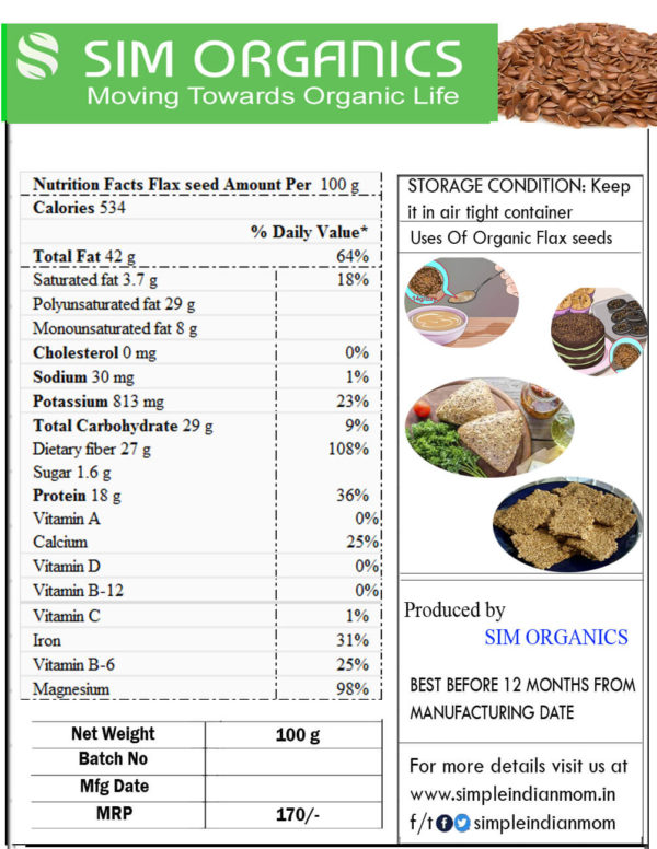 Nutrition fact - flax seeds