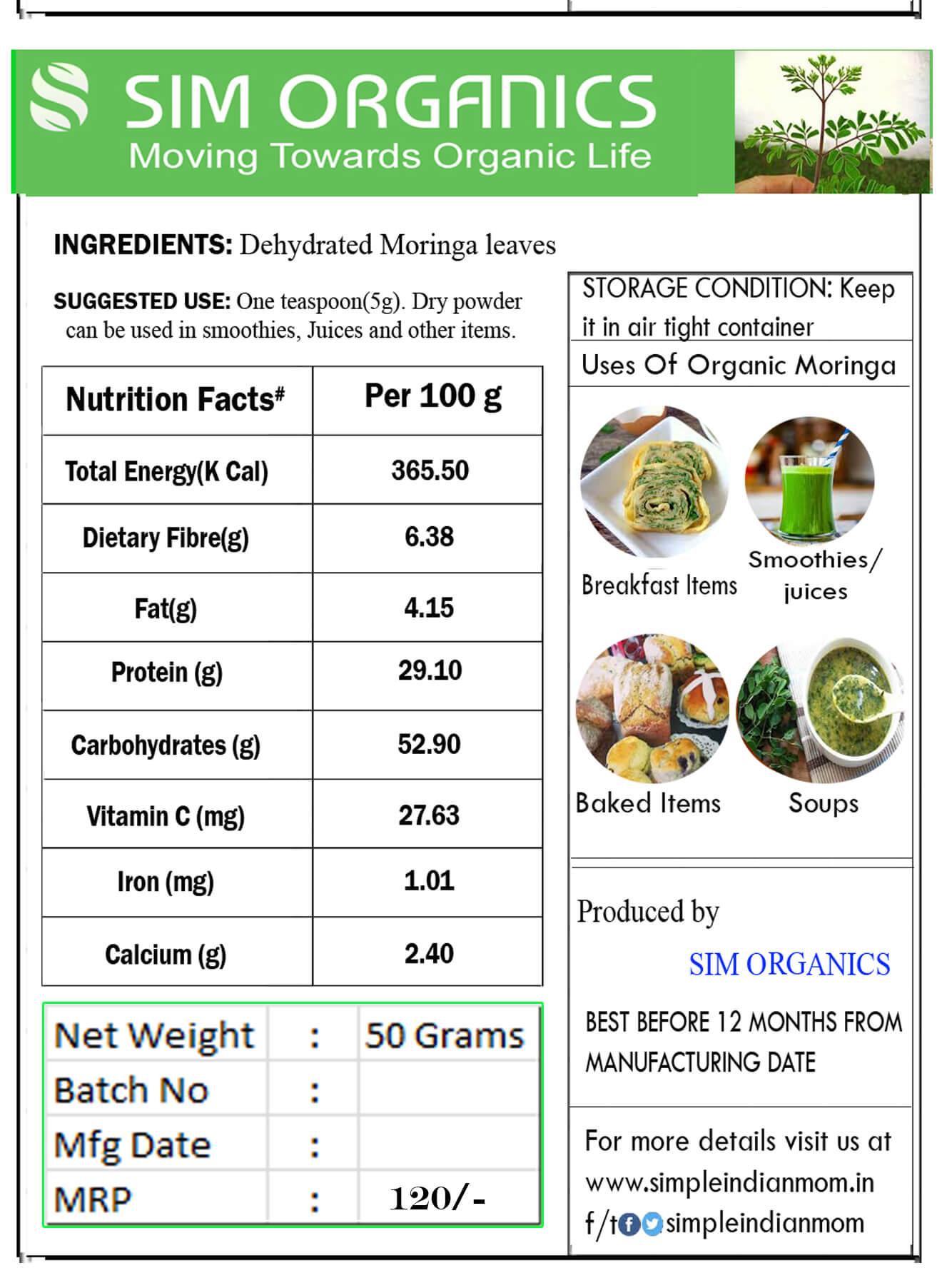 Nutrition fact - Moringa leaves