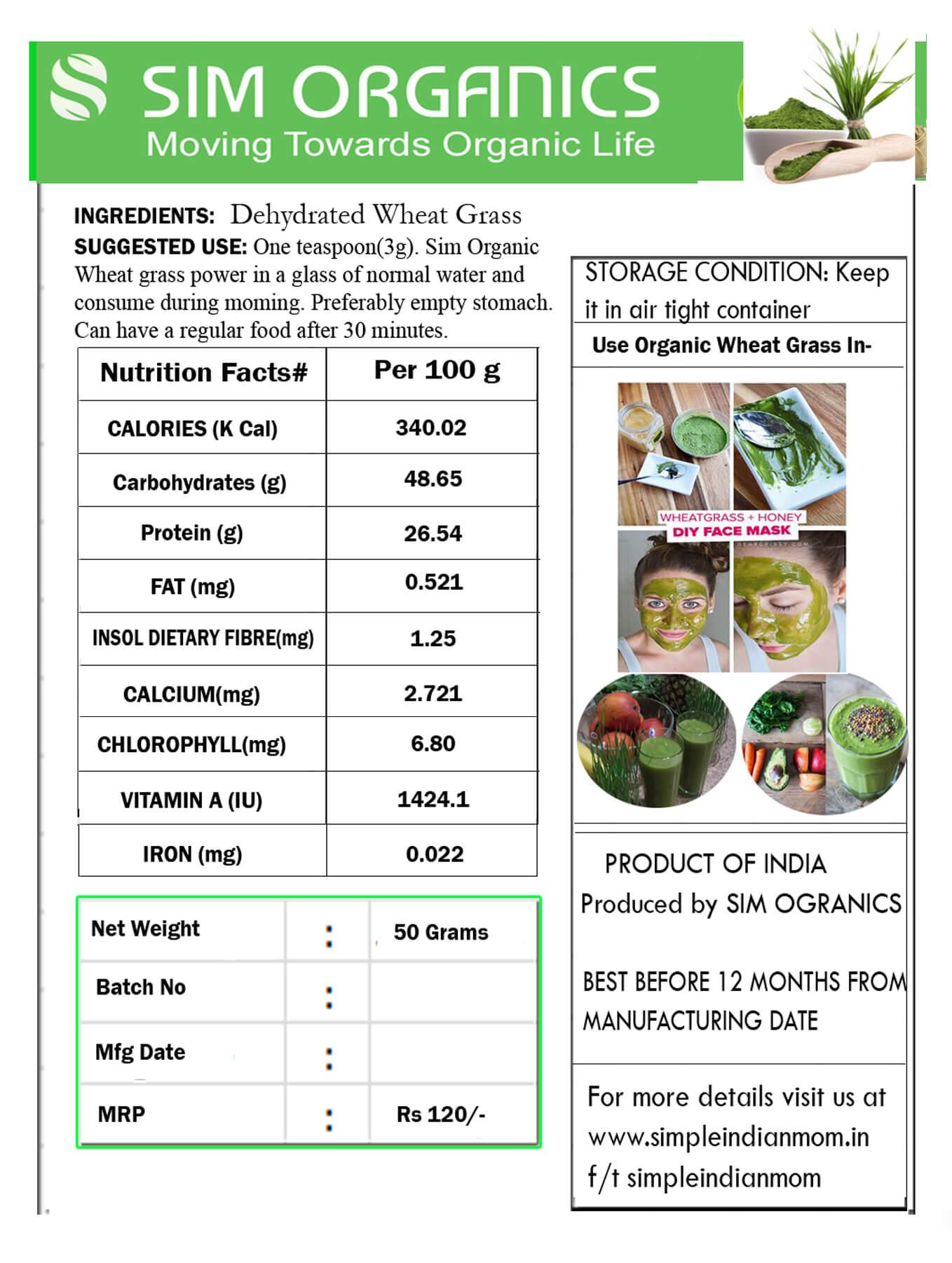 Nutrition fact- Wheat Grass